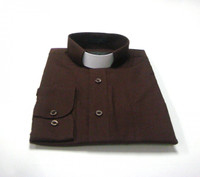 Tab Collar Affordable Clergy Shirt in Chocolate Brown