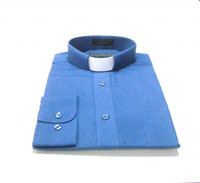 Tab Collar Affordable Clergy Shirt in Denim Blue