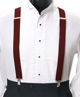 Men's Clip-On Suspender Set In BURGUNDY