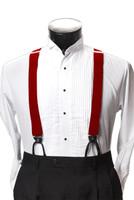 Men's Button-Hold Suspender Set In RED