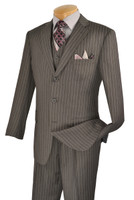 3-Piece Classic Pin Stripe Suit In Grey