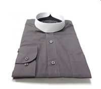 Banded Collar Affordable Clergy Bishop Shirt Charcoal
