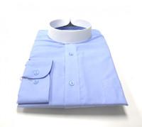 Banded Collar Affordable Clergy Bishop Shirt Light Blue