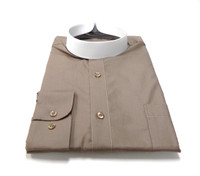 Banded Collar Affordable Clergy Bishop Shirt in Taupe