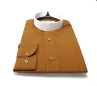 Banded Collar Affordable Clergy Bishop Shirt in Brown