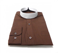 Banded Collar Affordable Clergy Bishop Shirt in Chocolate