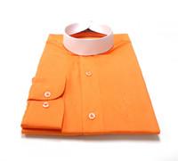 Banded Collar Affordable Clergy Bishop Shirt in Orange