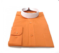 Banded Collar Affordable Clergy Bishop Shirt in Rust