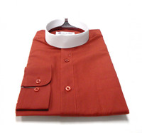 Banded Collar Affordable Clergy Bishop Shirt in Brick