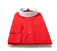 Banded Collar Affordable Clergy Bishop Shirt in Red