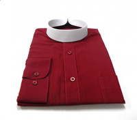 Banded Collar Affordable Clergy Bishop Shirt in Burgundy