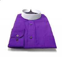 Banded Collar Affordable Clergy Bishop Shirt in Purple