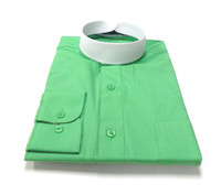 Banded Collar Affordable Clergy Bishop Shirt in Emerald