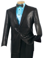 1-Button Shawl Collar Sequin Sport Coat In Black