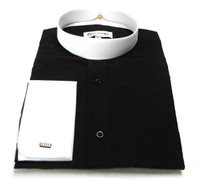 Two-Tone French Cuff Clergy Shirt In BLACK & WHITE
