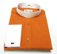 Two Tone Banded Collar Clergy Shirt In Rust & White