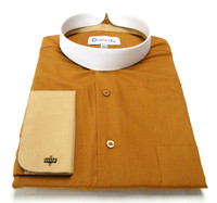 Men's Banded Collar French Cuff Clergy Shirt In Brown