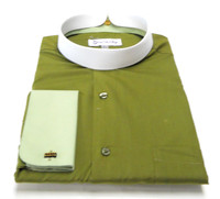 Men's Banded Collar French Cuff Clergy Shirt In Olive