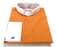 Two-Tone French Cuff Tab Collar Clergy Shirt In Burnt Orange