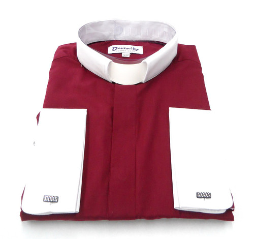 Hidden Button Clergy Shirt With Tab Collar In Burgundy