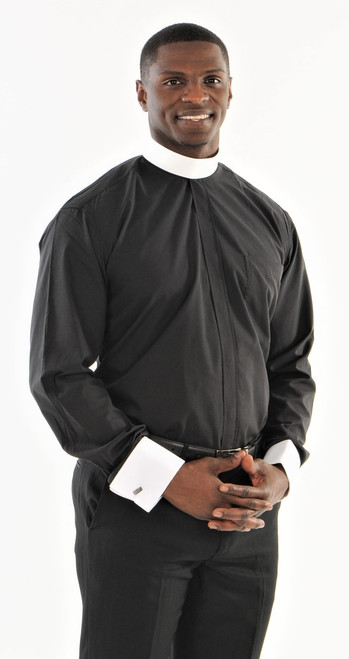 01. Hidden Button Two-Tone Banded Collar Clergy Shirt In Black