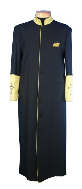 003.  Men's Clergy Robe in Black and Gold