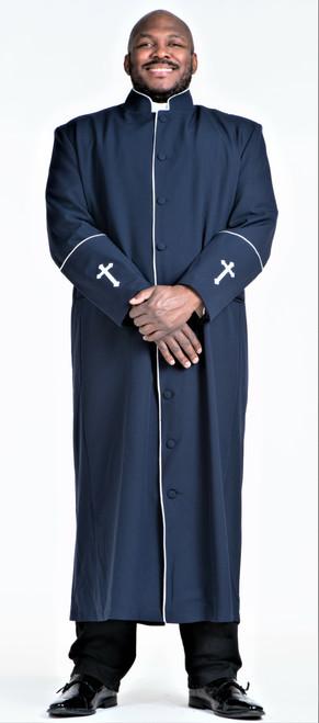 001. Men's Preacher Clergy Robe in Navy & White