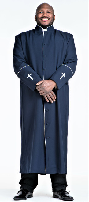 001. Men's Preacher Clergy Robe in Navy & White