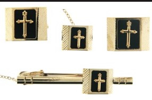 4-Piece Cufflink Set In Gold & Black - 05B