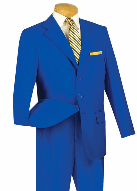 CLEARANCE: 3-Button Basic Solid Suit In Royal Blue