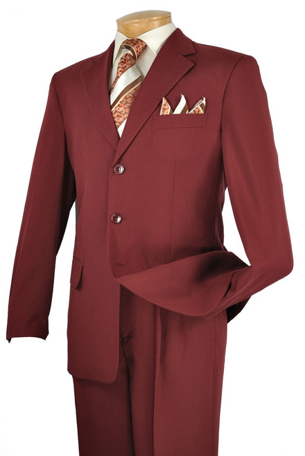 3-Button Basic Solid Suit In Burgundy