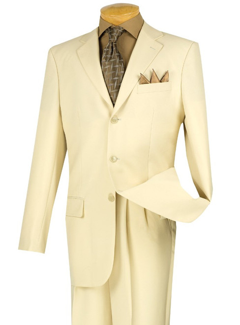 CLEARANCE: 3-Button Basic Solid Suit In Stone