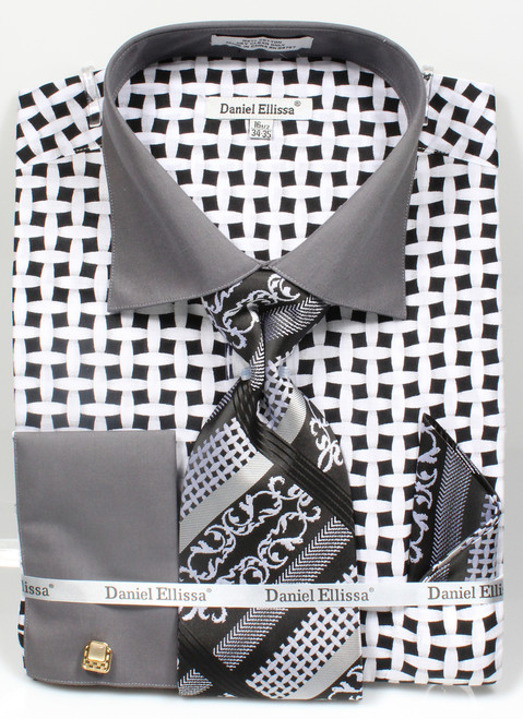 DS3782P2: Designer Dress Shirt, Tie, Handekerchief, & Cufflink Set - (5) Colors Available