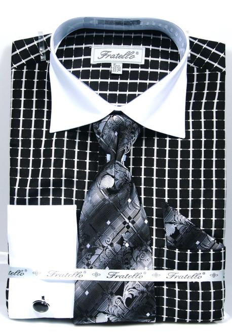 FRV4131P2: Designer Dress Shirt, Tie, Handekerchief, & Cufflink Set - (4) Colors Available