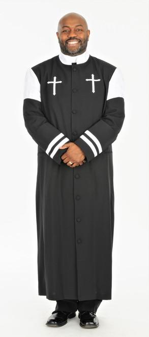 001.  CLOSEOUT Hoshea Clergy Robe For Men In Black & White