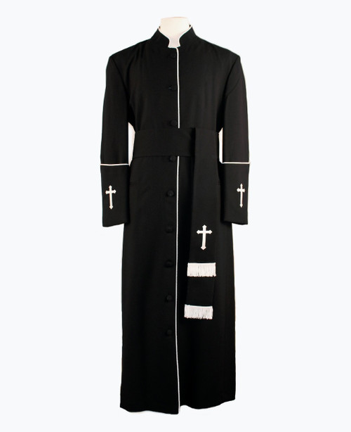 005. Men's Preacher Clergy Robe & Cincture Set in Black & White