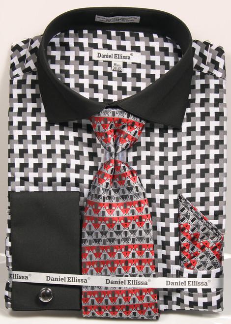 DS3788P2: Designer Dress Shirt, Tie, Handekerchief, & Cufflink Set - (5) Colors Available