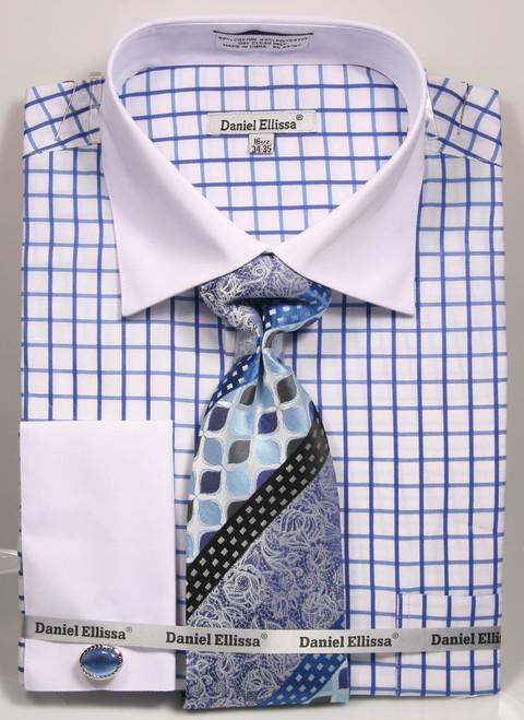 DS3789P2: Designer Dress Shirt, Tie, Handekerchief, & Cufflink Set - (3) Colors Available