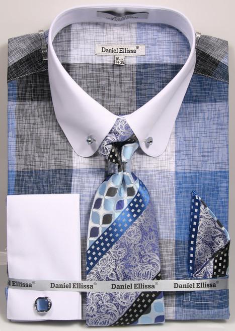 01. DS3791P: Designer Dress Shirt, Tie, Handekerchief, & Cufflink Set - (2) Colors Available