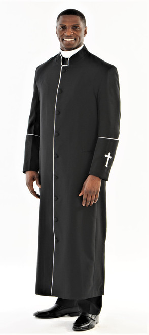 001. Men's Preacher Clergy Robe in Black & White