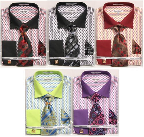 01. DS3794P: Designer Dress Shirt, Tie, Handekerchief, & Cufflink Set - (5) Colors Available