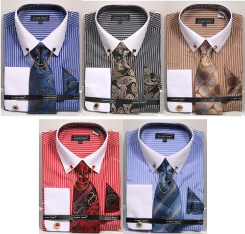 01. DN77M: Designer Dress Shirt, Tie, Handekerchief, & Cufflink Set - 5 Colors Available