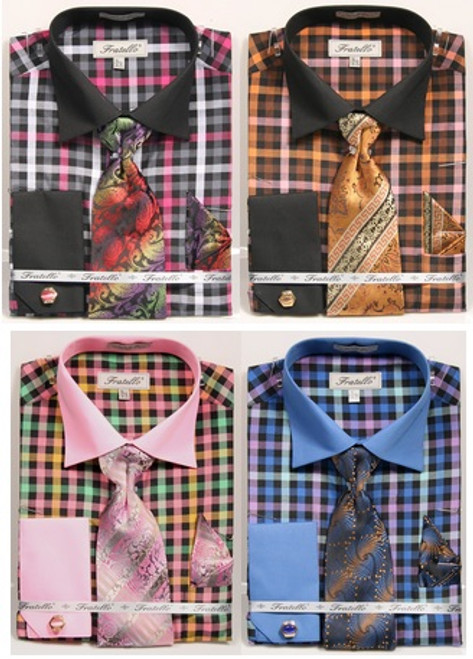 01. FRV4139: Designer Dress Shirt, Tie, Handekerchief, & Cufflink Set - 4 Colors Available