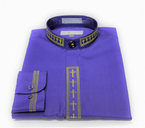 101. Banded Collar Embroidered Shirt In Purple & Gold