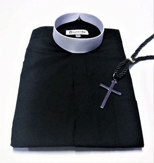 101. Banded Collar Clergy Shirt In Black With Silver Cross & Black Cord