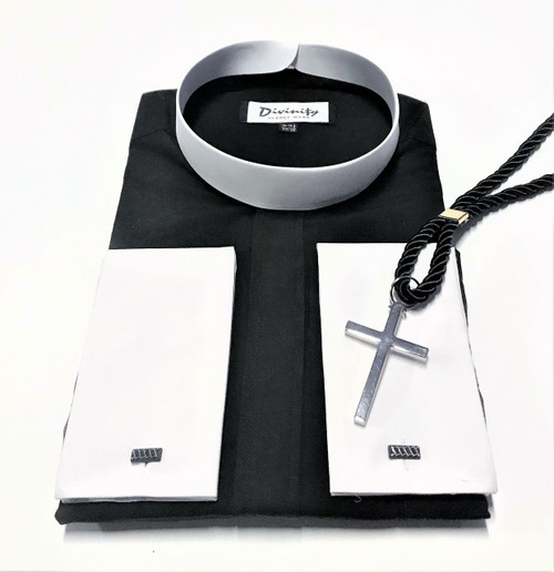 101. Banded Collar Two-Tone Clergy Shirt In Black With Silver Cross & Black Cord