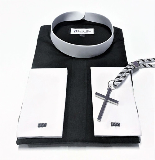 101. Banded Collar Two-Tone Clergy Shirt In Black With Silver Cross & Black/White Cord