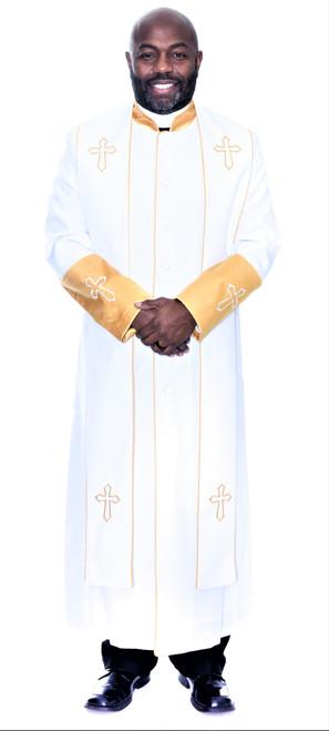 004.  Men's Asbury Clergy Robe & Stole Set In White & Gold