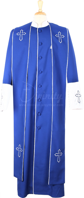 004.  Men's Asbury Clergy Robe & Stole Set In Royal & White