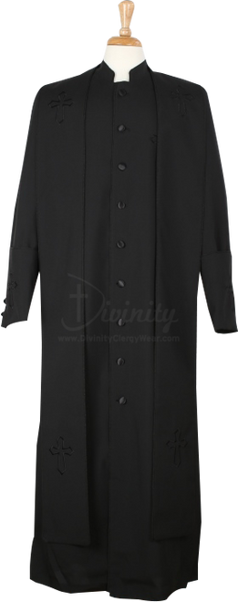 004.  Men's Trinity Clergy Robe & Stole Set In Black on Black